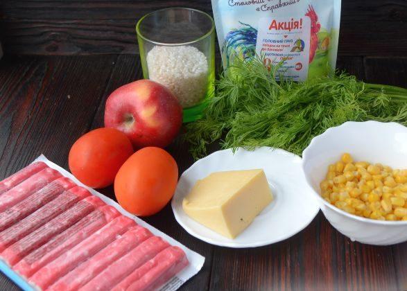 Салат с крабовыми палочками кукурузой