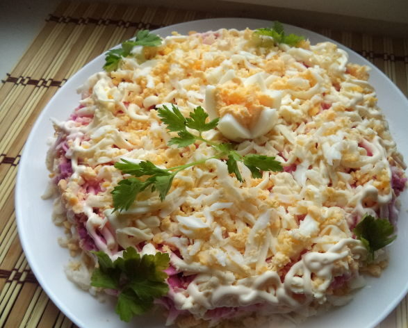 салат невеста +с плавленным сыром