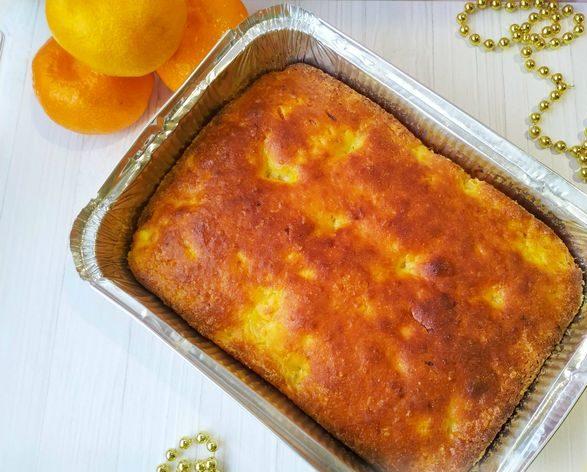 Творожный кекс-запеканка с мандаринами (без муки)
